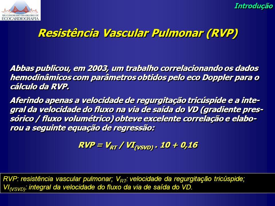 Resistência Vascular Pulmonar (RVP) Abbas publicou, em 2003, um trabalho correlacionando os dados hemodinâmicos com parâmetros obtidos pelo eco Dopple