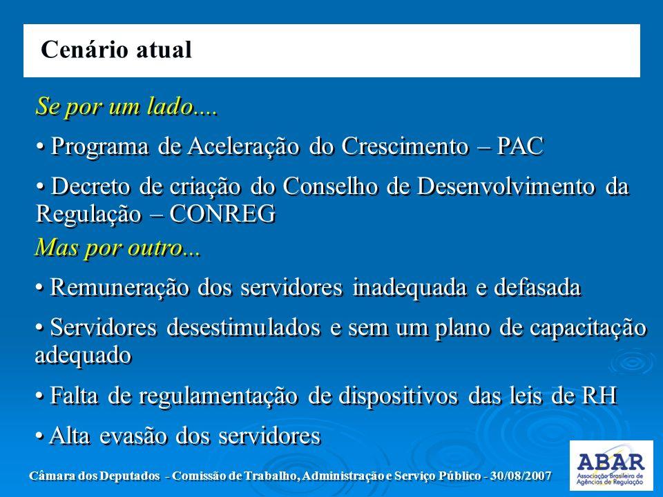 Cenário atual Câmara dos Deputados - Comissão de Trabalho, Administração e Serviço Público - 30/08/2007 Se por um lado....