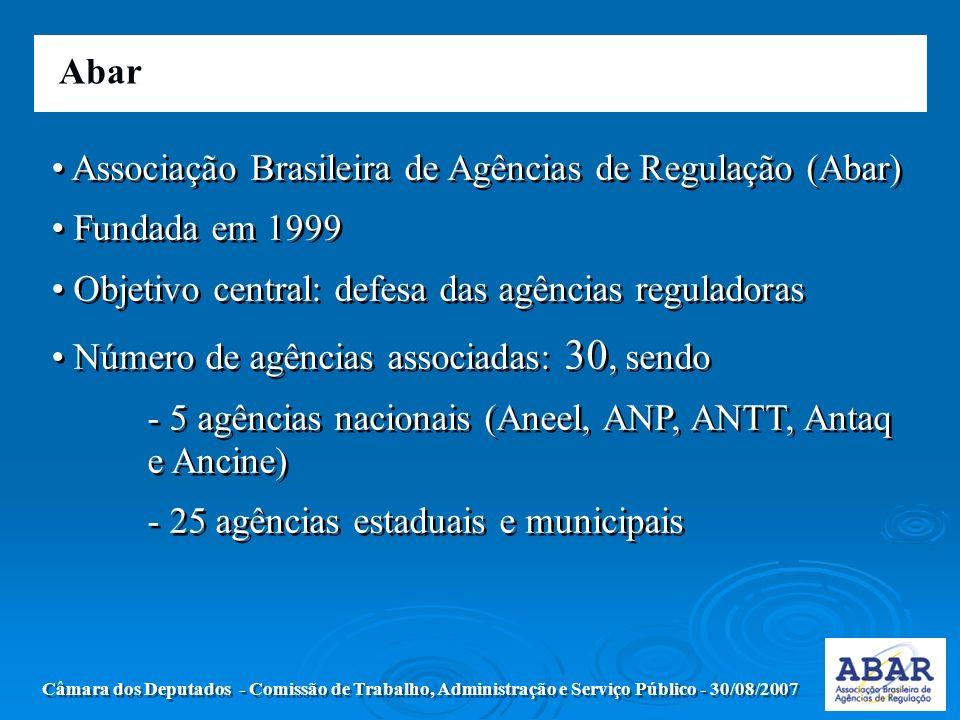 Abar Câmara dos Deputados - Comissão de Trabalho, Administração e Serviço Público - 30/08/2007 Associação Brasileira de Agências de Regulação (Abar) Fundada em 1999 Objetivo central: defesa das agências reguladoras Número de agências associadas: 30, sendo - 5 agências nacionais (Aneel, ANP, ANTT, Antaq e Ancine) - 25 agências estaduais e municipais Associação Brasileira de Agências de Regulação (Abar) Fundada em 1999 Objetivo central: defesa das agências reguladoras Número de agências associadas: 30, sendo - 5 agências nacionais (Aneel, ANP, ANTT, Antaq e Ancine) - 25 agências estaduais e municipais