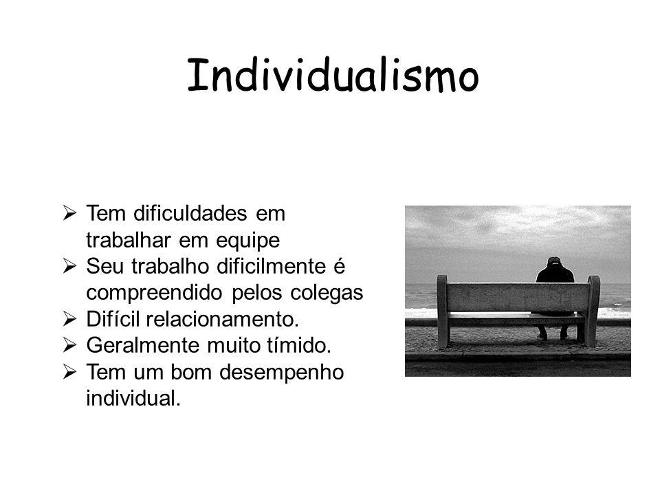 Individualismo Tem dificuldades em trabalhar em equipe Seu trabalho dificilmente é compreendido pelos colegas Difícil relacionamento. Geralmente muito