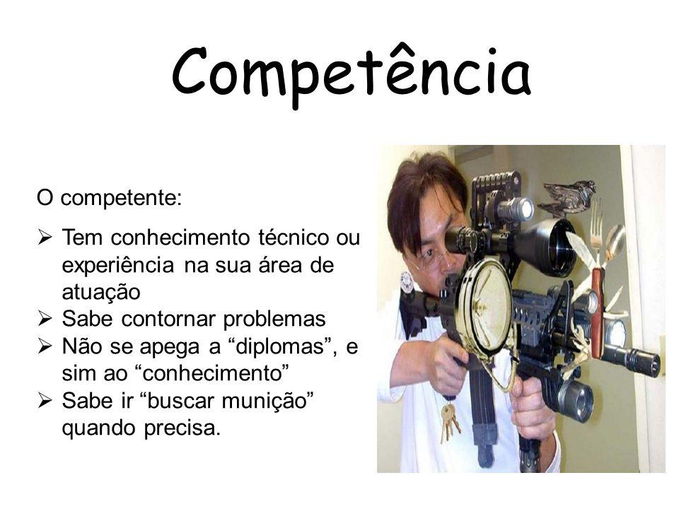 Competência Tem conhecimento técnico ou experiência na sua área de atuação Sabe contornar problemas Não se apega a diplomas, e sim ao conhecimento Sab