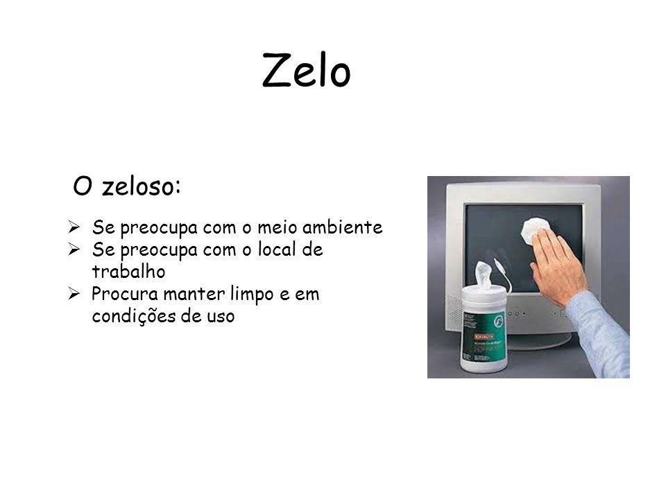 Zelo Se preocupa com o meio ambiente Se preocupa com o local de trabalho Procura manter limpo e em condições de uso O zeloso: