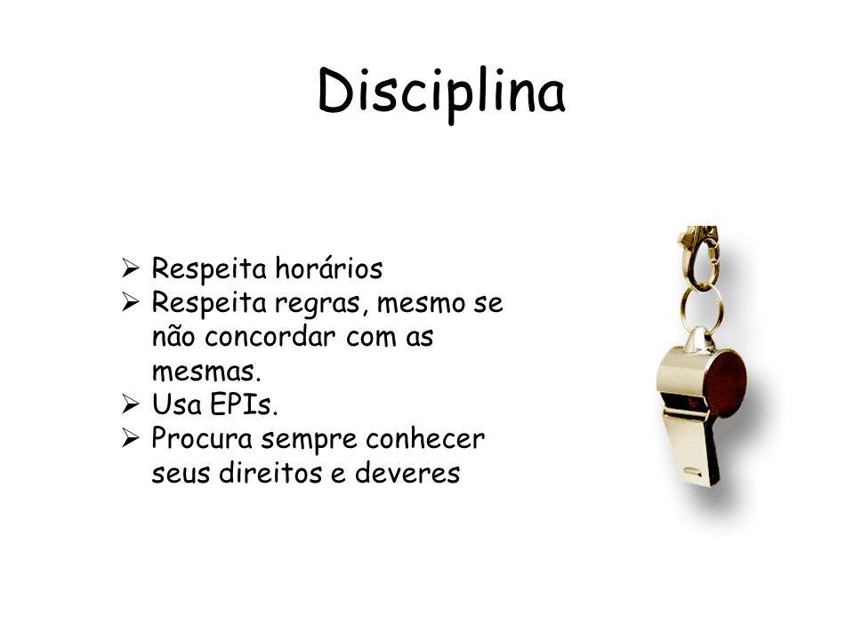 Disciplina Respeita horários Respeita regras, mesmo se não concordar com as mesmas. Usa EPIs. Procura sempre conhecer seus direitos e deveres