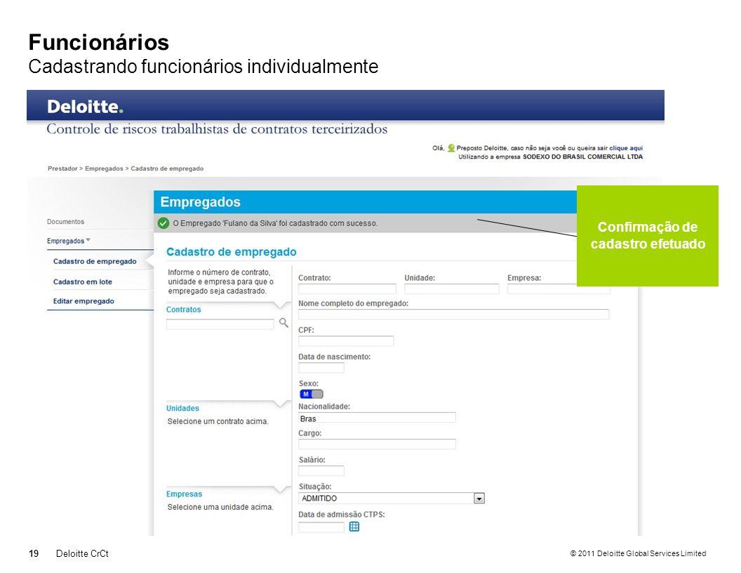 © 2011 Deloitte Global Services Limited Funcionários Cadastrando funcionários individualmente 19Deloitte CrCt Confirmação de cadastro efetuado