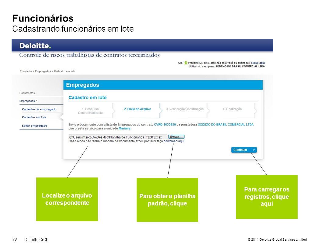 © 2011 Deloitte Global Services Limited Funcionários Cadastrando funcionários em lote 22Deloitte CrCt Localize o arquivo correspondente Para obter a p
