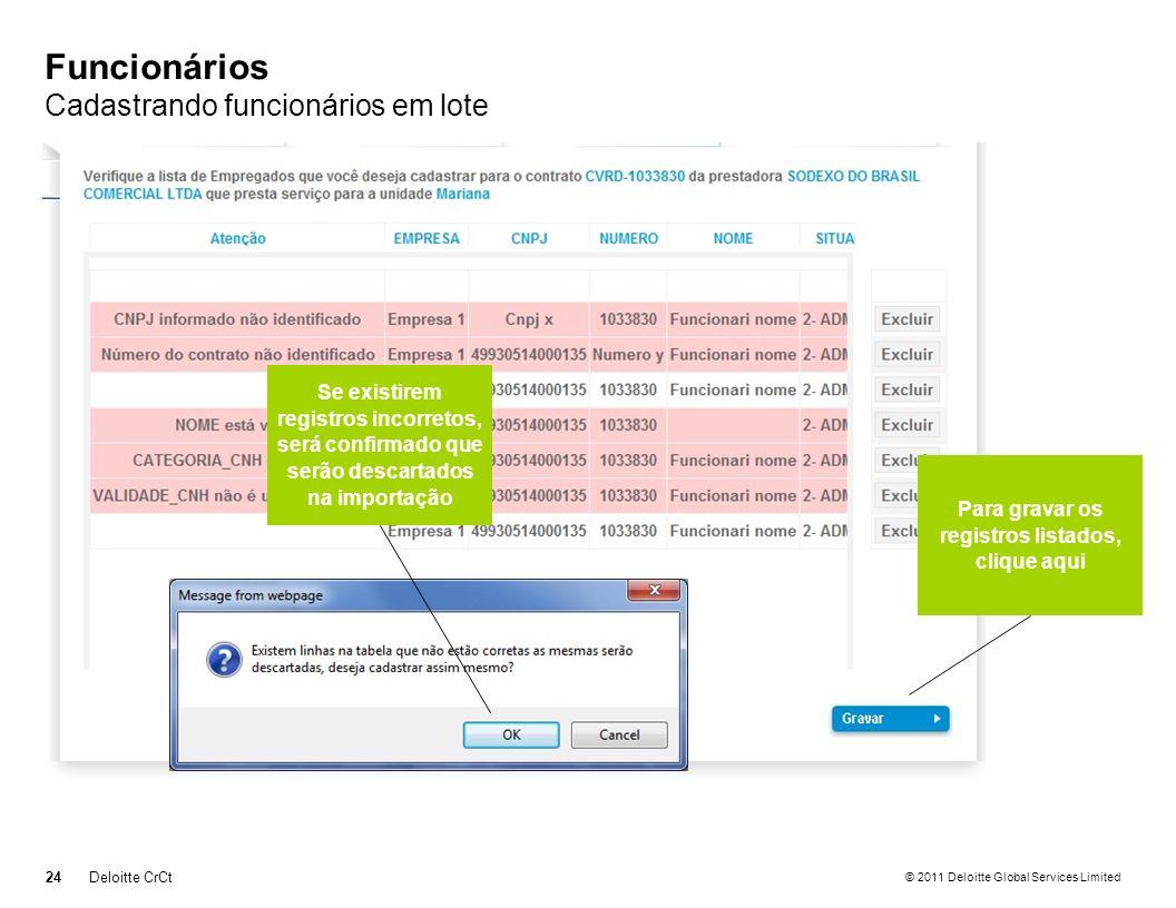 © 2011 Deloitte Global Services Limited Funcionários Cadastrando funcionários em lote 24Deloitte CrCt Para gravar os registros listados, clique aqui S