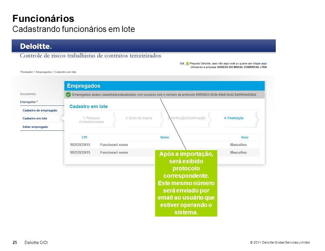 © 2011 Deloitte Global Services Limited Funcionários Cadastrando funcionários em lote 25Deloitte CrCt Após a importação, será exibido protocolo corres
