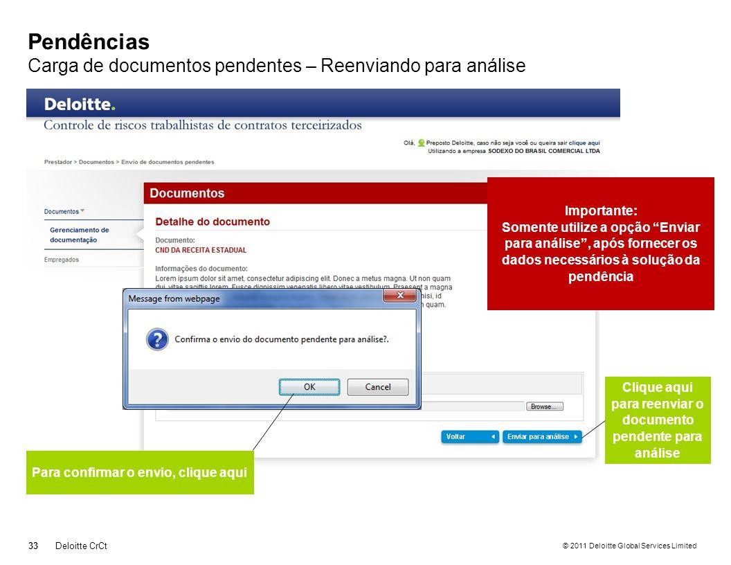 © 2011 Deloitte Global Services Limited Pendências Carga de documentos pendentes – Reenviando para análise 33Deloitte CrCt Clique aqui para reenviar o