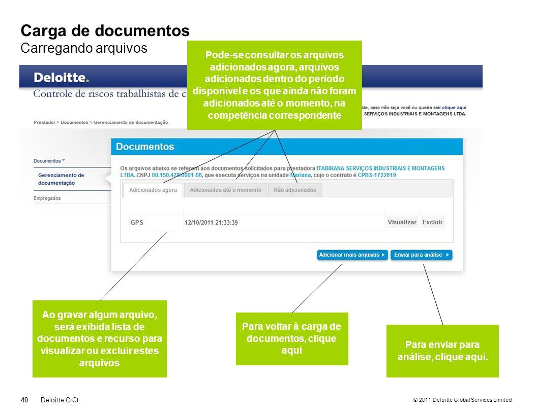 © 2011 Deloitte Global Services Limited Carga de documentos Carregando arquivos 40Deloitte CrCt Para voltar à carga de documentos, clique aqui Ao grav