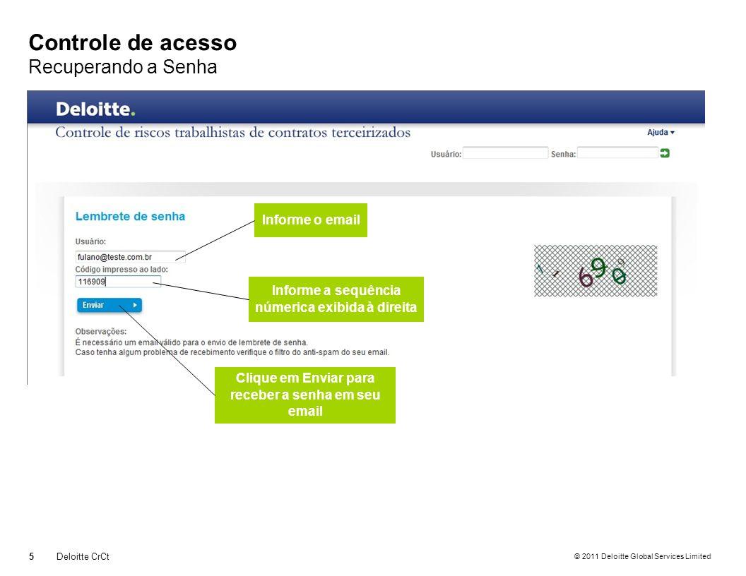 © 2011 Deloitte Global Services Limited Controle de acesso Recuperando a Senha 5Deloitte CrCt Informe o email Informe a sequência númerica exibida à d