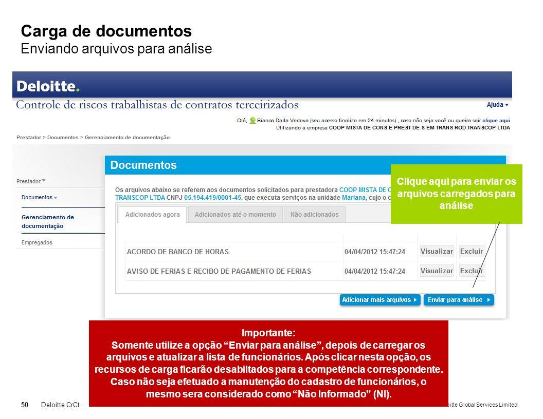 © 2011 Deloitte Global Services Limited Carga de documentos Enviando arquivos para análise 50Deloitte CrCt Clique aqui para enviar os arquivos carrega