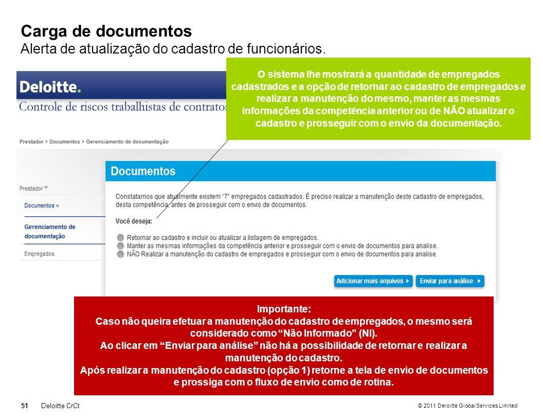 © 2011 Deloitte Global Services Limited Carga de documentos Alerta de atualização do cadastro de funcionários. 51Deloitte CrCt O sistema lhe mostrará