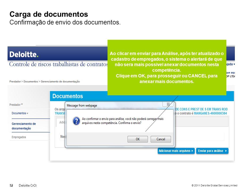 © 2011 Deloitte Global Services Limited Carga de documentos Confirmação de envio dos documentos. 52Deloitte CrCt Ao clicar em enviar para Análise, apó