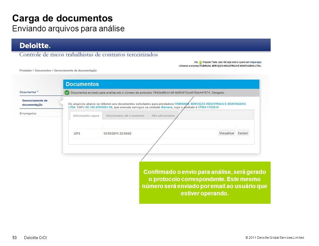 © 2011 Deloitte Global Services Limited Carga de documentos Enviando arquivos para análise 53Deloitte CrCt Confirmado o envio para análise, será gerad
