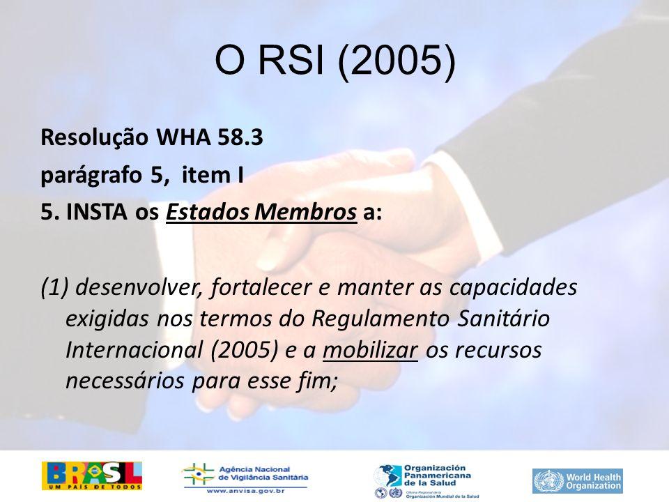 O RSI (2005) Resolução WHA 58.3 parágrafo 5, item I 5. INSTA os Estados Membros a: (1) desenvolver, fortalecer e manter as capacidades exigidas nos te