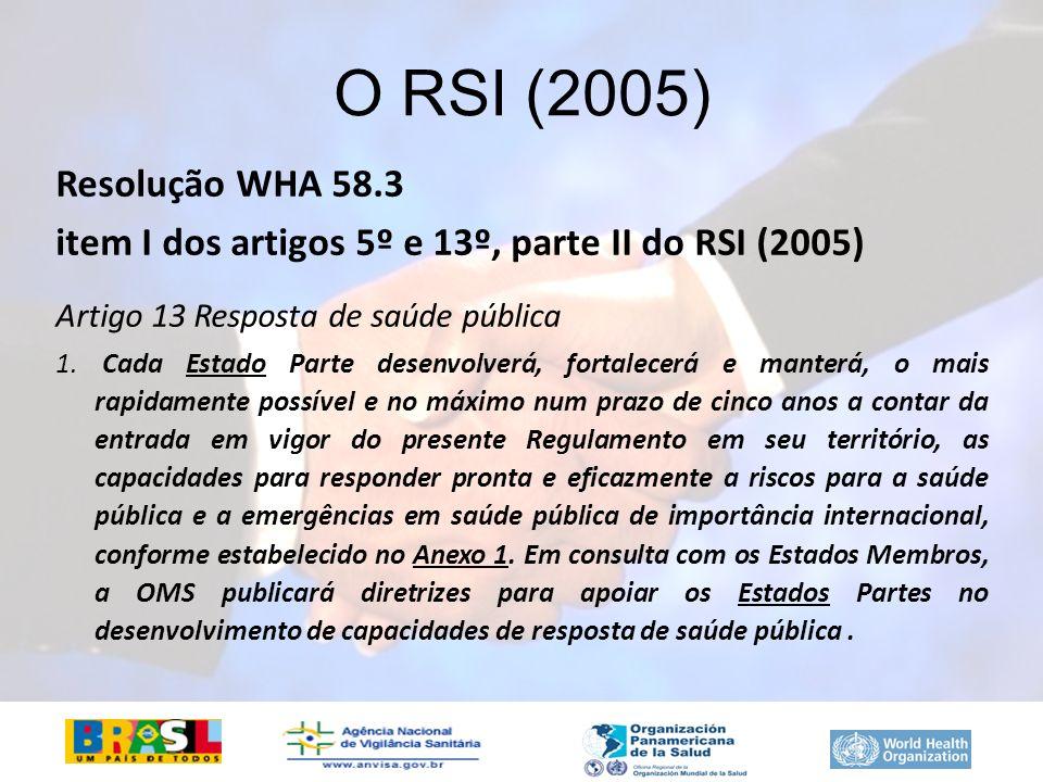 Resolução WHA 58.3 item I dos artigos 5º e 13º, parte II do RSI (2005) Artigo 13 Resposta de saúde pública 1. Cada Estado Parte desenvolverá, fortalec