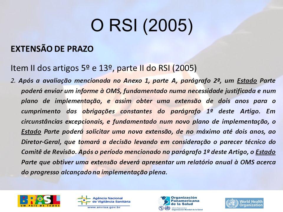 EXTENSÃO DE PRAZO Item II dos artigos 5º e 13º, parte II do RSI (2005) 2. Após a avaliação mencionada no Anexo 1, parte A, parágrafo 2º, um Estado Par