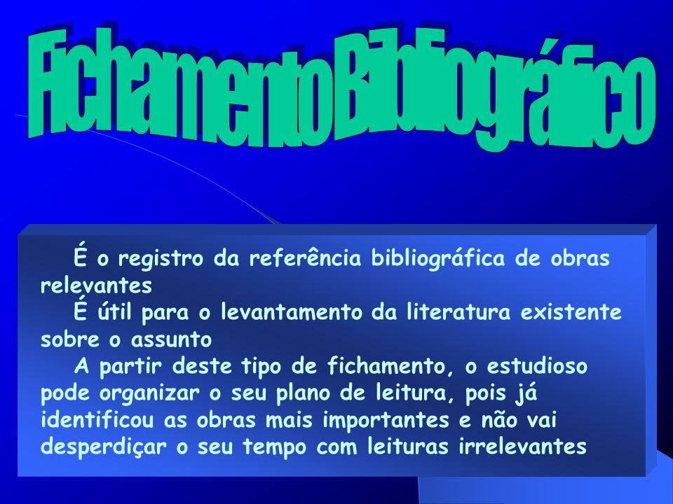 É o registro da referência bibliográfica de obras relevantes É útil para o levantamento da literatura existente sobre o assunto A partir deste tipo de