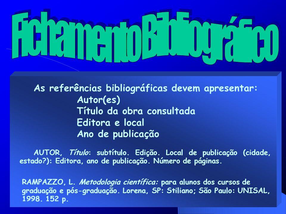 As referências bibliográficas devem apresentar: Autor(es) Título da obra consultada Editora e local Ano de publicação AUTOR, Título: subtítulo. Edição
