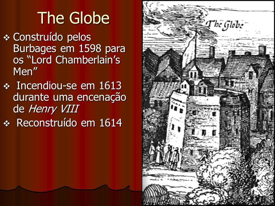 The Globe v Construído pelos Burbages em 1598 para os Lord Chamberlains Men v Incendiou-se em 1613 durante uma encenação de Henry VIII v Reconstruído