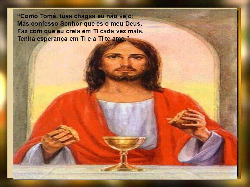Na Cruz só se ocultava a divindade, Aqui também se oculta a humanidade: Em ambas, porém, crendo, ambas confesso. E o que pediu o bom ladrão eu peço. T