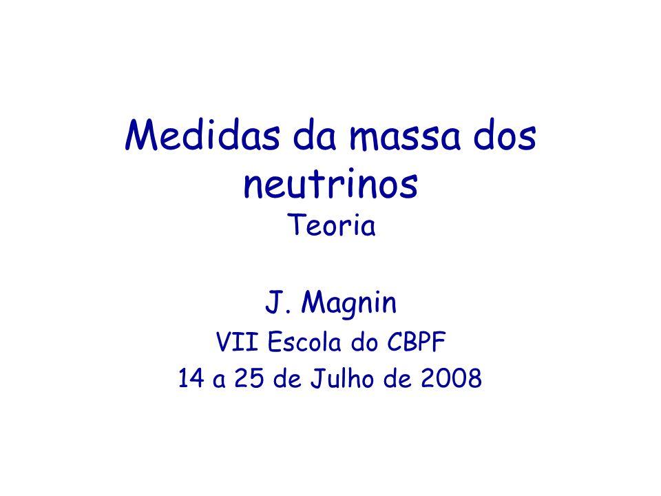 Medidas da massa dos neutrinos Teoria J. Magnin VII Escola do CBPF 14 a 25 de Julho de 2008