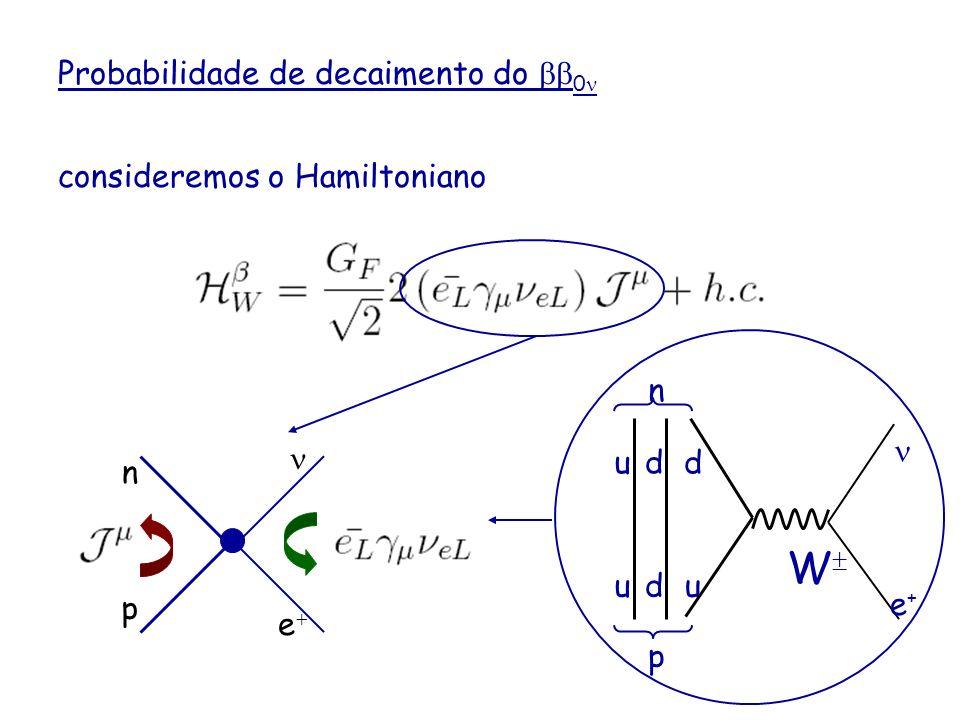 Probabilidade de decaimento do 0 consideremos o Hamiltoniano corrente hadrônica carregada neutrino de Majorana mistura n p e u d W d du u n p e+e+