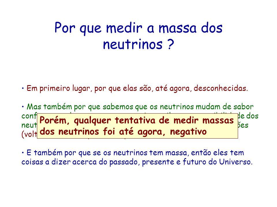 Por que medir a massa dos neutrinos ? Em primeiro lugar, por que elas são, até agora, desconhecidas. Mas também por que sabemos que os neutrinos mudam