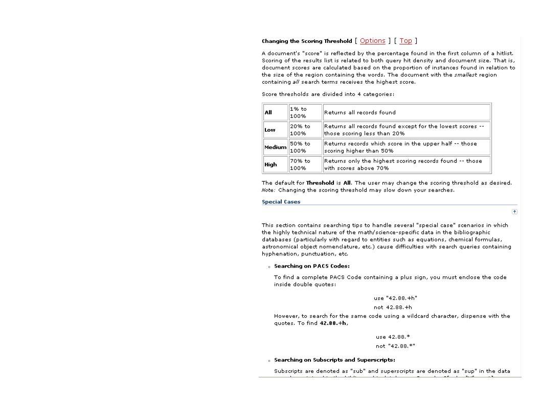 Estratégia de busca: Threshold (limiar = densidade e tamanho do documento)