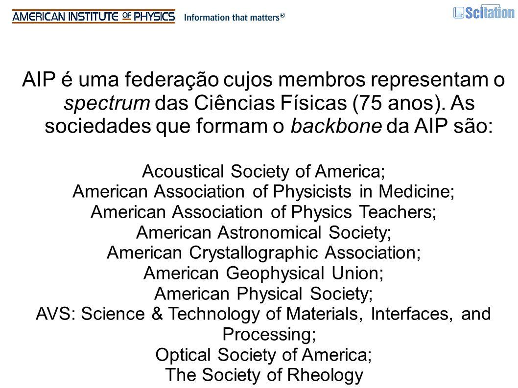 AIP é uma federação cujos membros representam o spectrum das Ciências Físicas (75 anos). As sociedades que formam o backbone da AIP são: Acoustical So