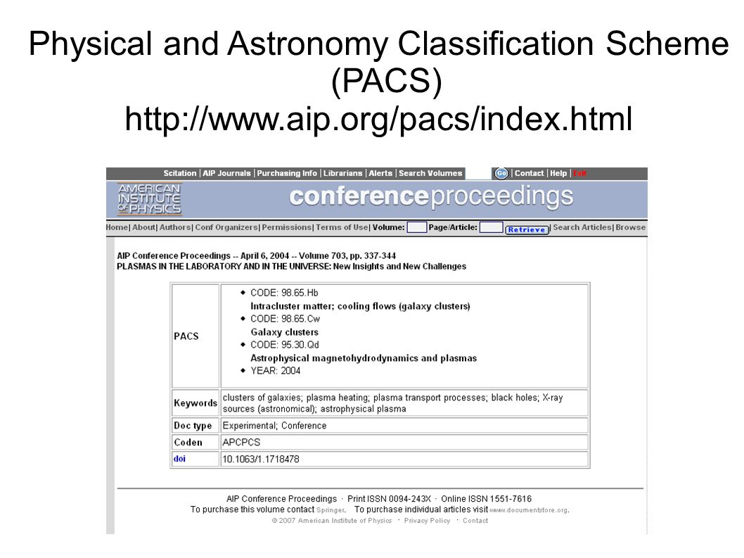 Physical and Astronomy Classification Scheme (PACS) http://www.aip.org/pacs/index.html