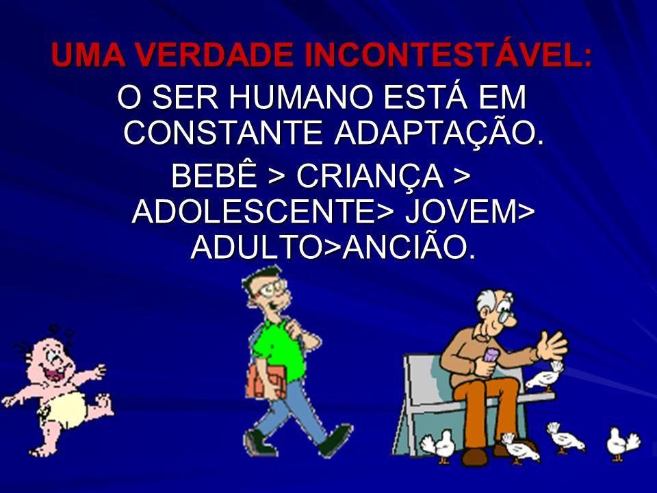 UMA VERDADE INCONTESTÁVEL: O SER HUMANO ESTÁ EM CONSTANTE ADAPTAÇÃO. BEBÊ > CRIANÇA > ADOLESCENTE> JOVEM> ADULTO>ANCIÃO.