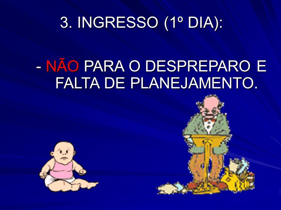 3. INGRESSO (1º DIA): - NÃO PARA O DESPREPARO E FALTA DE PLANEJAMENTO.