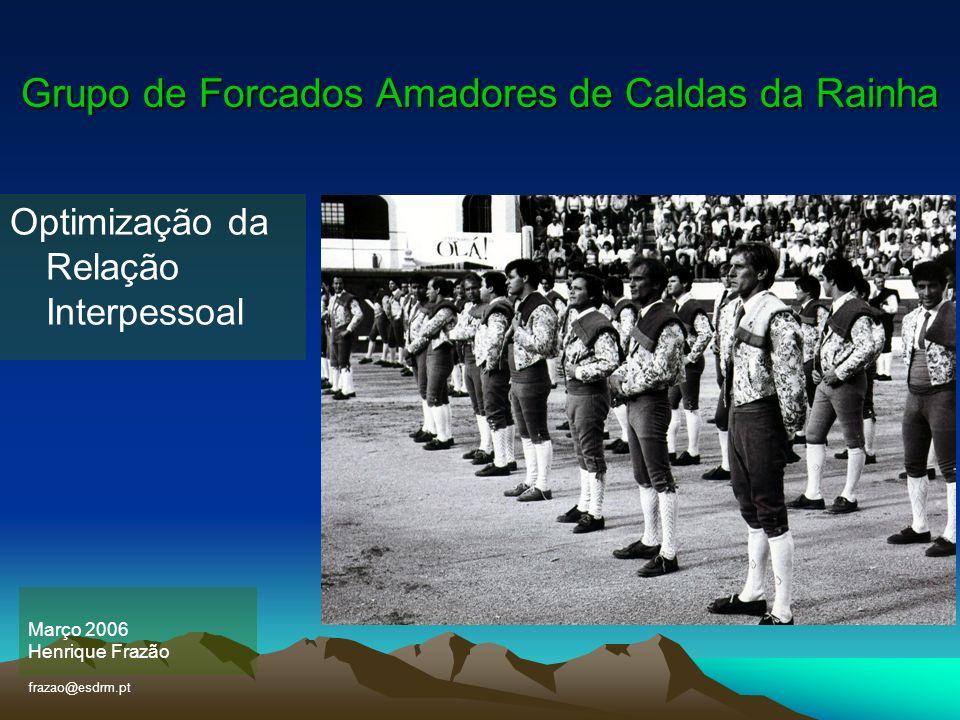 Grupo de Forcados Amadores de Caldas da Rainha Março 2006 Henrique Frazão frazao@esdrm.pt Optimização da Relação Interpessoal