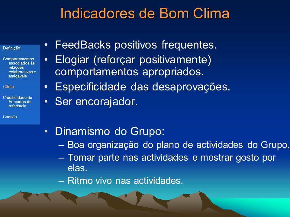 Indicadores de Bom Clima FeedBacks positivos frequentes.