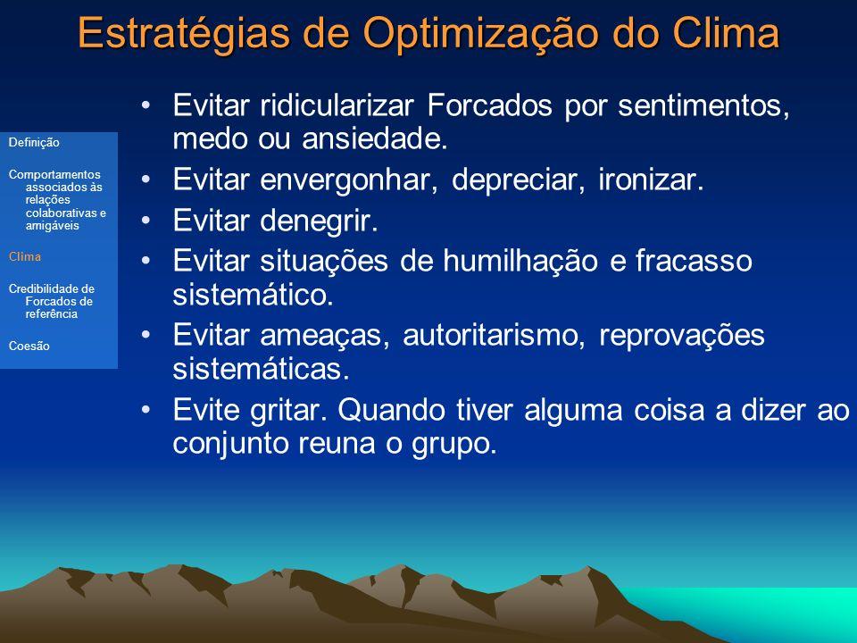 Estratégias de Optimização do Clima Evitar ridicularizar Forcados por sentimentos, medo ou ansiedade.