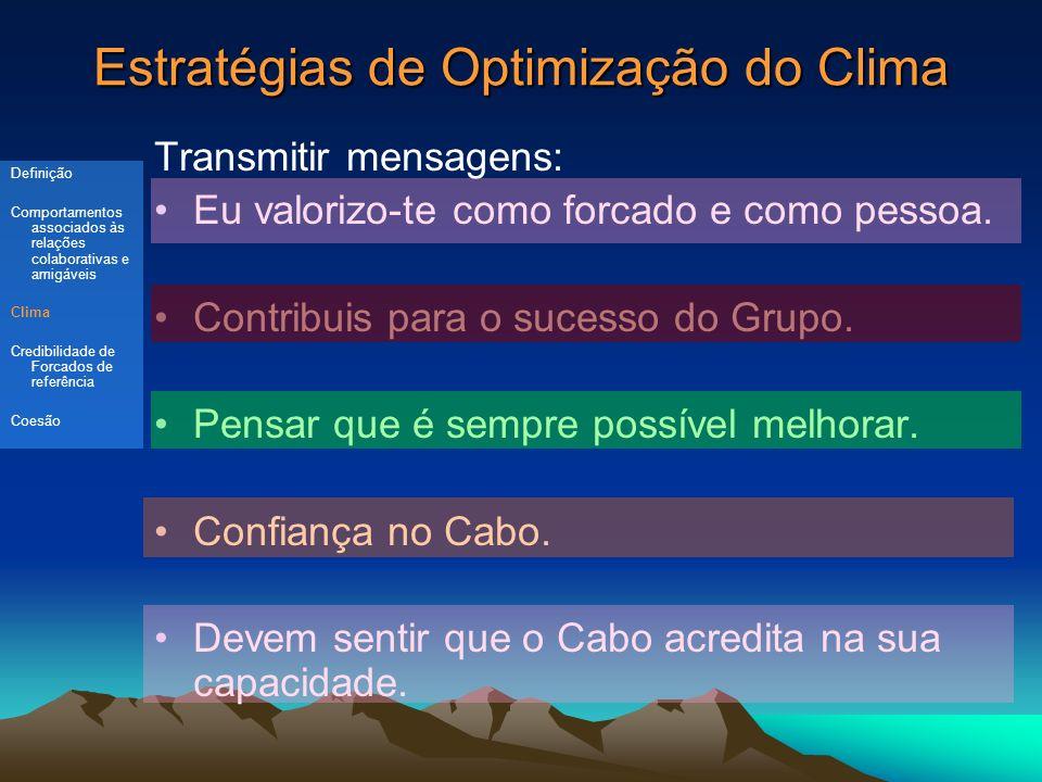 Estratégias de Optimização do Clima Transmitir mensagens: Eu valorizo-te como forcado e como pessoa.