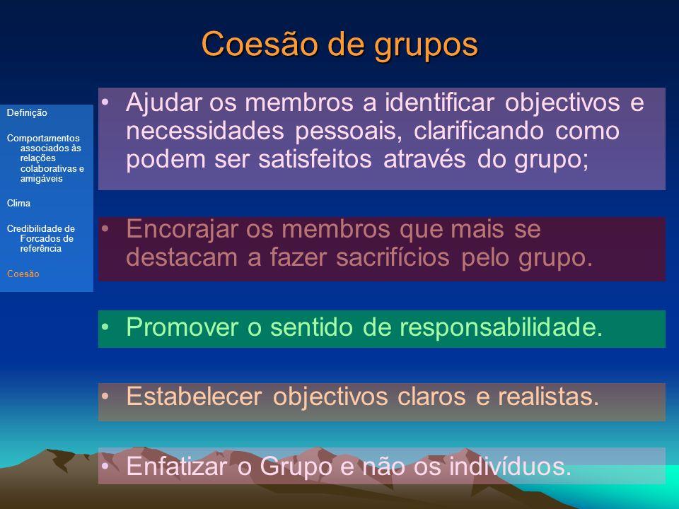 Coesão de grupos Ajudar os membros a identificar objectivos e necessidades pessoais, clarificando como podem ser satisfeitos através do grupo; Encorajar os membros que mais se destacam a fazer sacrifícios pelo grupo.