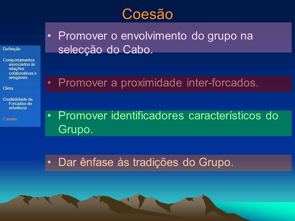 Coesão Promover o envolvimento do grupo na selecção do Cabo.