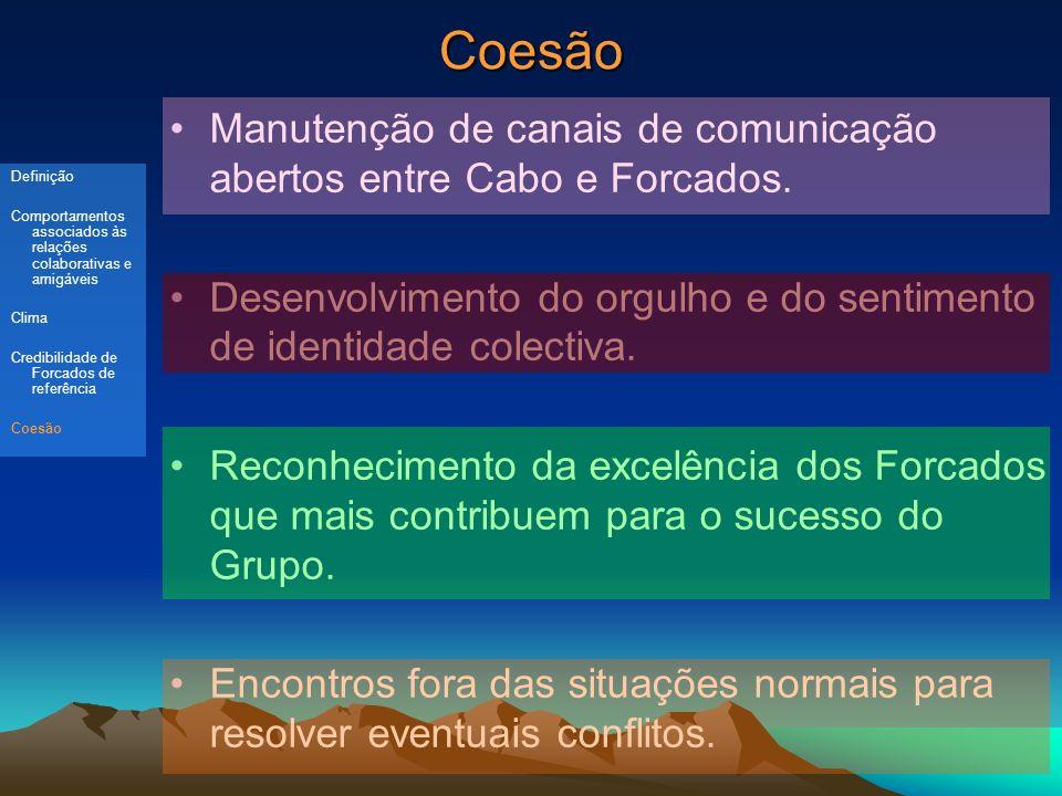 Coesão Manutenção de canais de comunicação abertos entre Cabo e Forcados.