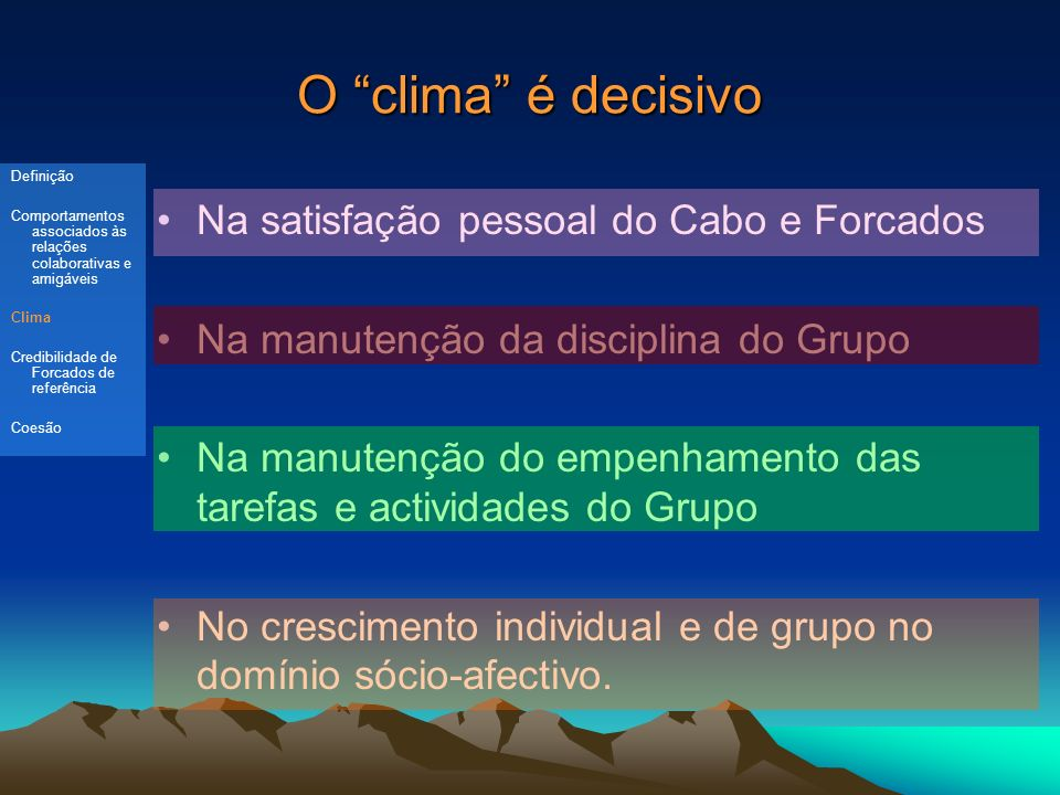 O clima é decisivo Na satisfação pessoal do Cabo e Forcados Na manutenção da disciplina do Grupo Na manutenção do empenhamento das tarefas e actividades do Grupo No crescimento individual e de grupo no domínio sócio-afectivo.
