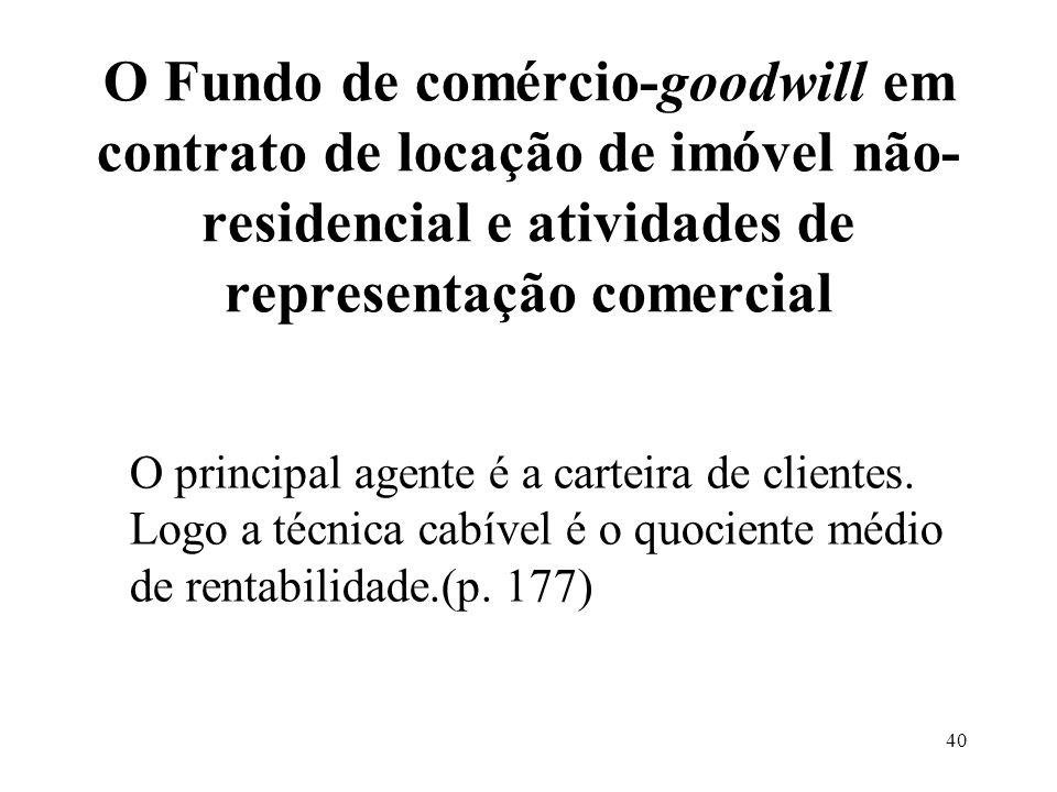 39 O Fundo de comércio-goodwill em balanços consolidados Na consolidação deve ser eliminado o goodwill individual. Tal qual as participações. Devendo