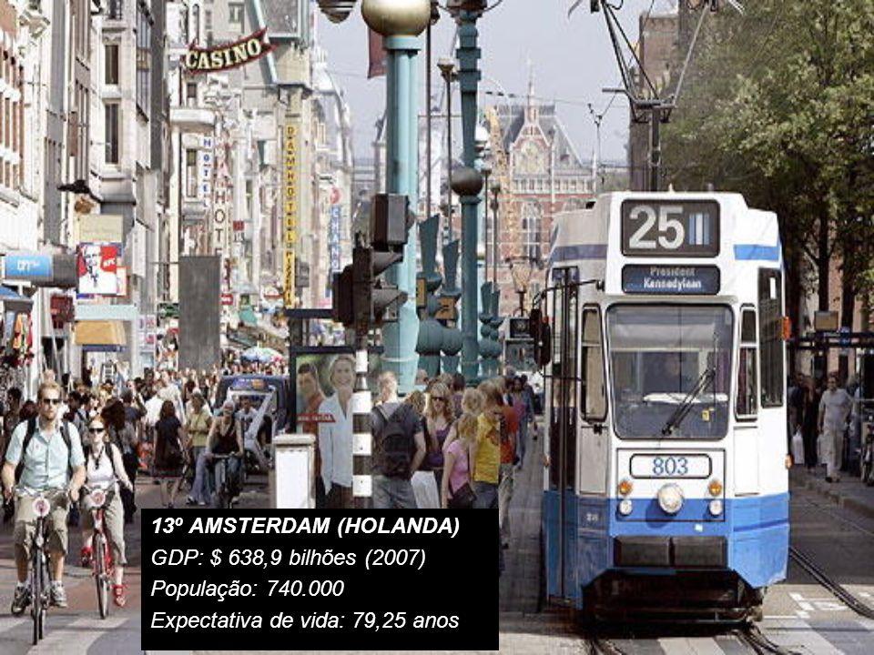 14º BRUSSELS (BÉLGICA) GDP: $ 378,9 bilhões(2007) População: 1.067.162 Exp.vida:79,07 anos