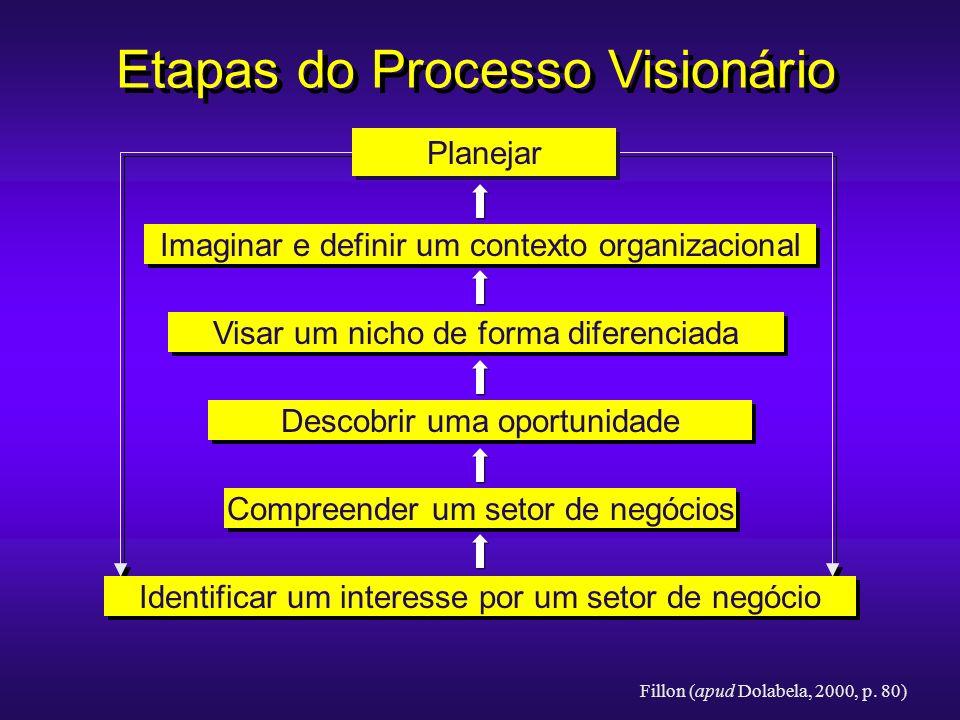 Etapas do Processo Visionário Planejar Imaginar e definir um contexto organizacional Visar um nicho de forma diferenciada Descobrir uma oportunidade C