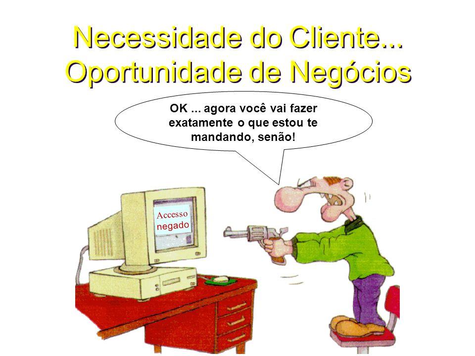 Necessidade do Cliente... Oportunidade de Negócios Accesso negado OK... agora você vai fazer exatamente o que estou te mandando, senão!