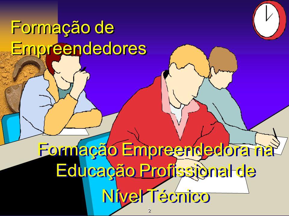 Formação de Empreendedores Formação Empreendedora na Educação Profissional de Nível Técnico Formação Empreendedora na Educação Profissional de Nível T