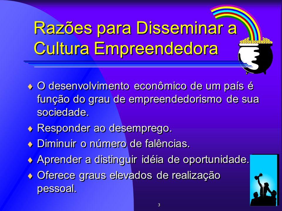Razões para Disseminar a Cultura Empreendedora O desenvolvimento econômico de um país é função do grau de empreendedorismo de sua sociedade. Responder