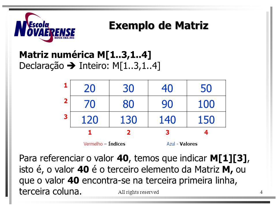 All rights reserved4 Matriz numérica M[1..3,1..4] Declaração Inteiro: M[1..3,1..4] Vermelho – ÍndicesAzul - Valores Para referenciar o valor 40, temos