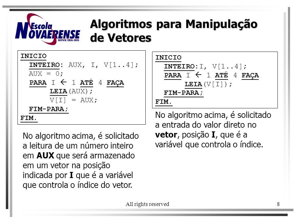 All rights reserved8 INICIO INTEIRO: AUX, I, V[1..4]; AUX = 0; PARA I 1 ATÉ 4 FAÇA LEIA(AUX); V[I] = AUX; FIM-PARA; FIM. Algoritmos para Manipulação d