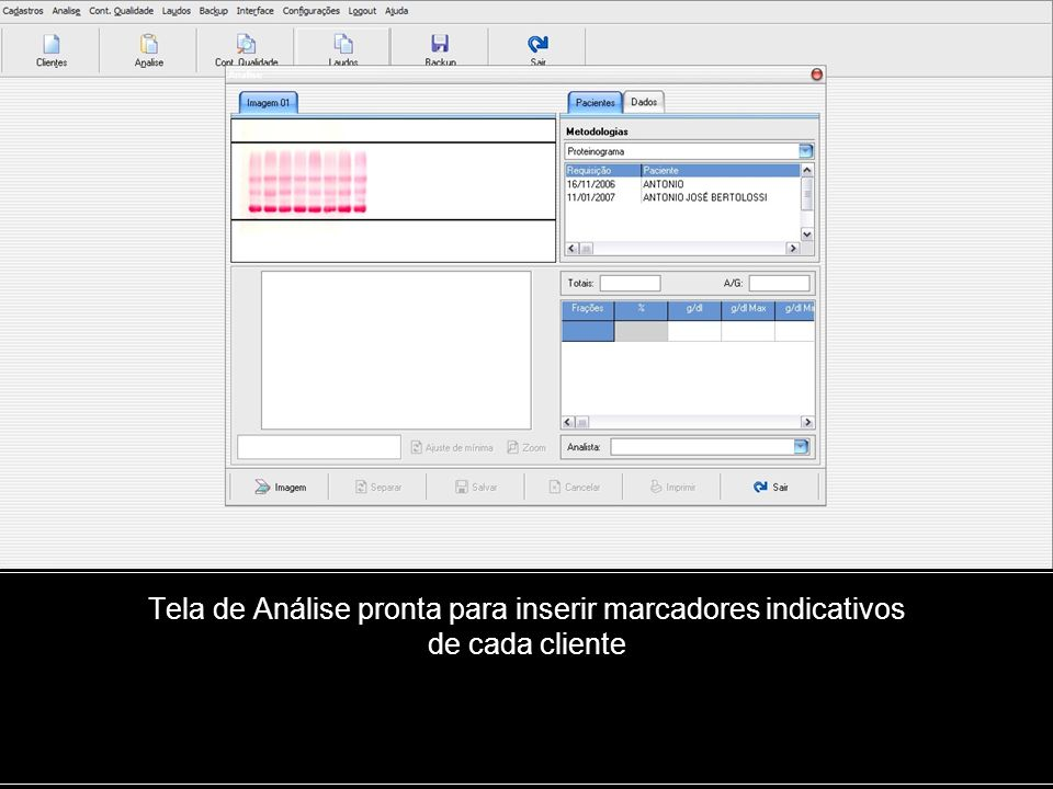 Tela de Análise pronta para inserir marcadores indicativos de cada cliente